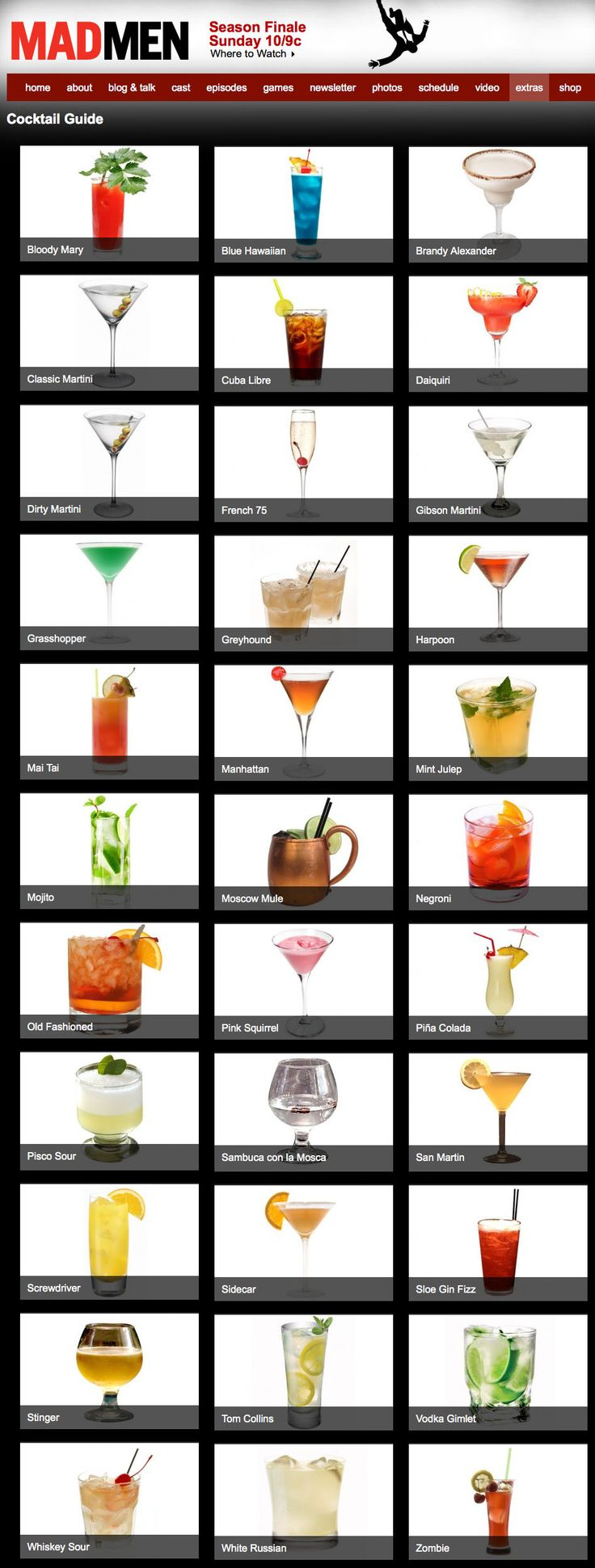 Mad Men Cocktail Guide: Making me think of damp, humid summer afternoons and dark, cool, long bars.