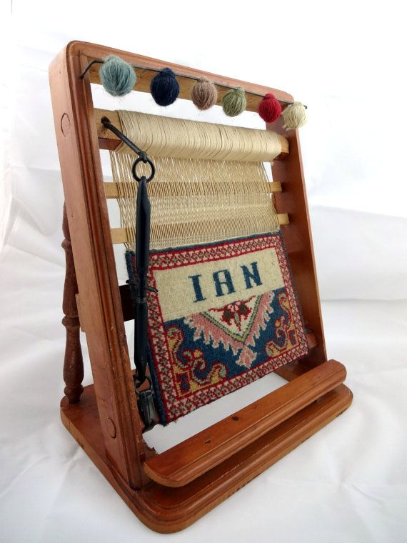Vintage Miniature Table Weaving Loom With Small Hand Crafted Tapestry