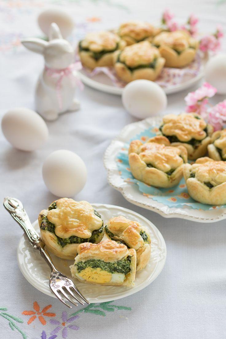 Mini cestini di torta pasqualina con pasta sfoglia - Antipasto facile di Pasqua