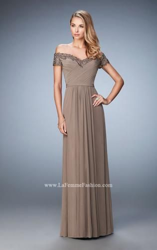 e91cd5b642c Picture of  Off the Shoulder Evening Dress with Jeweled Embroidery ...