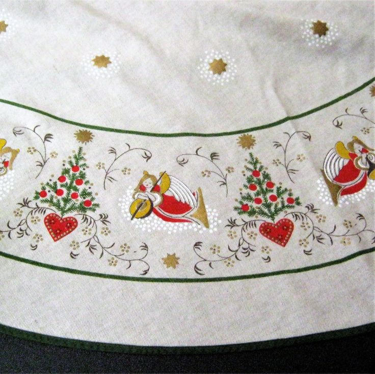 """Scandinavian Christmas Tablecloth*Round Norwegian Holiday Tablecloth*Vintage Table Linen with Angels*Hearts*Christmas Tree*Gold Stars*65"""" by CedarCoveRetro on Etsy"""