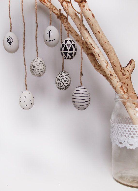 Moderne Ostereier 7er Set minimalistische Osterreier von frauklarer
