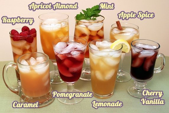 fantastic link for making flavored ice teas! Create endless varieties using jams, juices, spices & extracts!