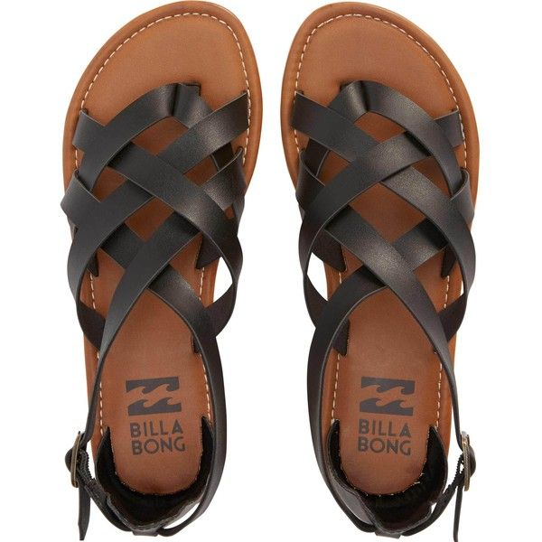 Billabong Women's Seaing Double (£35) ❤ liked on Polyvore featuring shoes, sandals, flats, zapatos, black, footwear, off black, flat shoes, strappy sandals and black ankle strap sandals