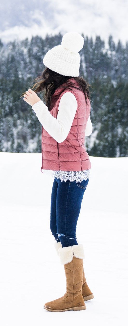 Cute winter outfit, winter fashion, winter style, Uniqlo womens puffer vest, pom pom beanie, UGG boots outfit, petite fashion blog #vestswomensoutfits