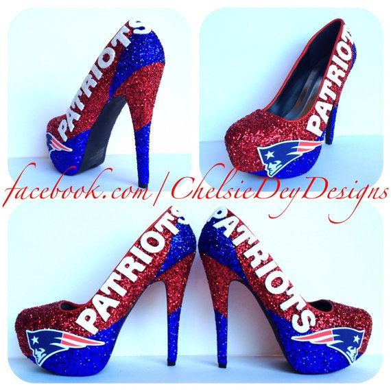 For my Birthday?? -- New England Patriots Glitter High Heels by ChelsieDeyDesigns, $118.00