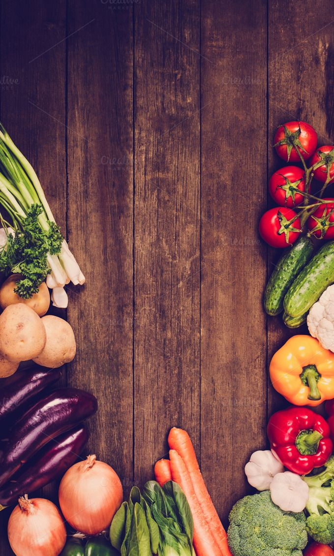 Vegetables on wooden background by primopiano on Creative Market