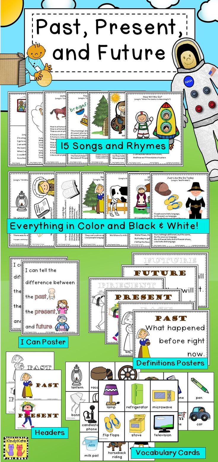 Help students distinguish between past and present —with a little future thrown in, too!--with these adorable circle-time songs and rhymes. You'll also find an I Can Poster for your classroom, Past, Present, and Future definition posters, pocket chart headers, and vocabulary cards that will add plenty of pizzazz to this social studies/history theme. TpT$