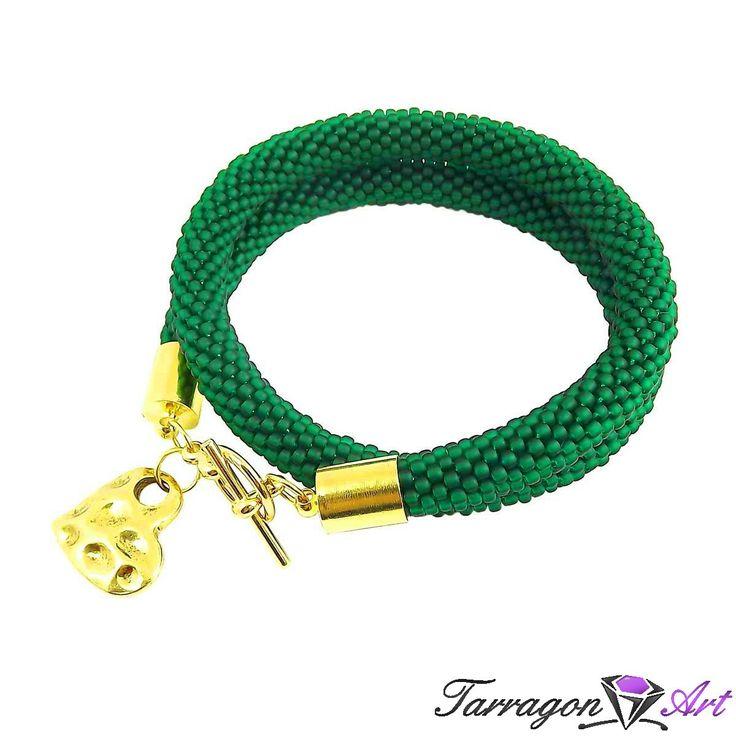 Bransoletka szydełkowo koralikowa Seed Beads - Frosted Emerald Heart - Seed Beads / Bransoletki - Tarragon Art - stylowa biżuteria artystycz...