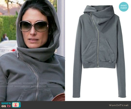 Abby's grey asymmetric hoodie and cross back top on Girlfriends Guide to Divorce.  Outfit Details: https://wornontv.net/55172/ #GG2D