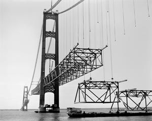 The making of the Mackinac Bridge, Michigan ...*Can't imagine what my dad must have experienced while working on this.