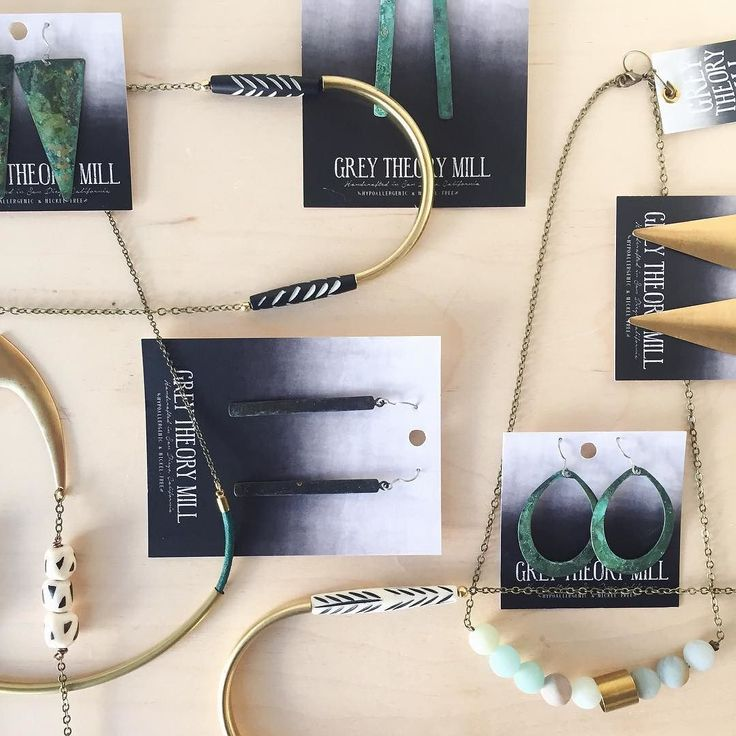 Brass beads and patina come together to form the edgy modern line of @greytheorymill. All materials are sourced ethically and all earring posts are made with Grade A Titanium earring wire -one of the premier and safest metals for super sensitive ears. This is a jewelry line you can definitely get behind.