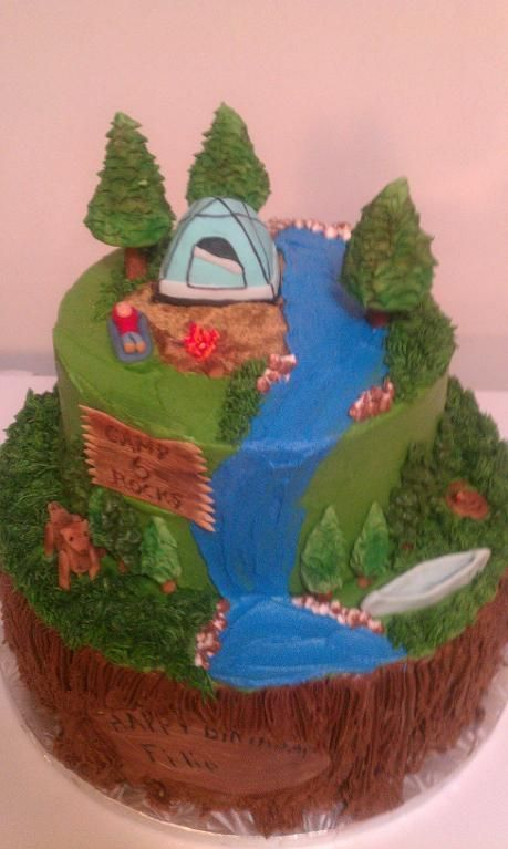 Camping cake - I like how the bottom layer is a tree trunk