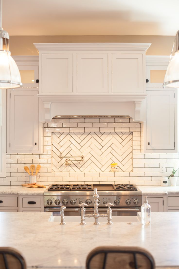 Glazed Brick Backsplash With Herringbone Pattern Pot