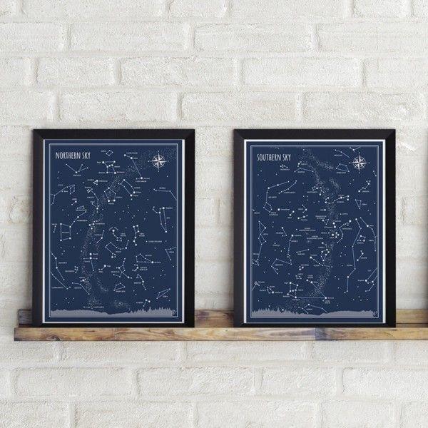 Sada 2 plakátů Follygraph Little & Big Astronomer Blue, 30x40 cm