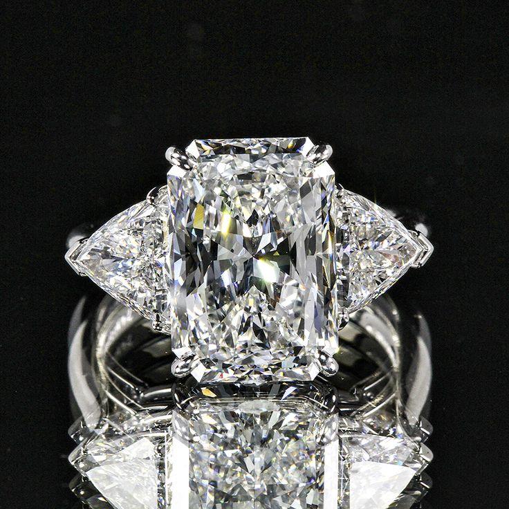 7.78ctw Three Stone Radiant and Trillion Diamond Ring set in White Gold