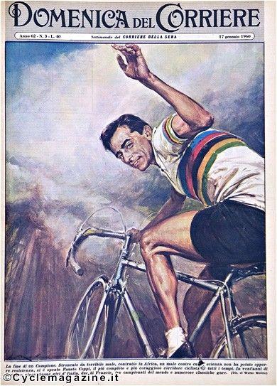 Fausto Coppi sulla copertina della Domenica del Corriere in un disegno di Walter Molino