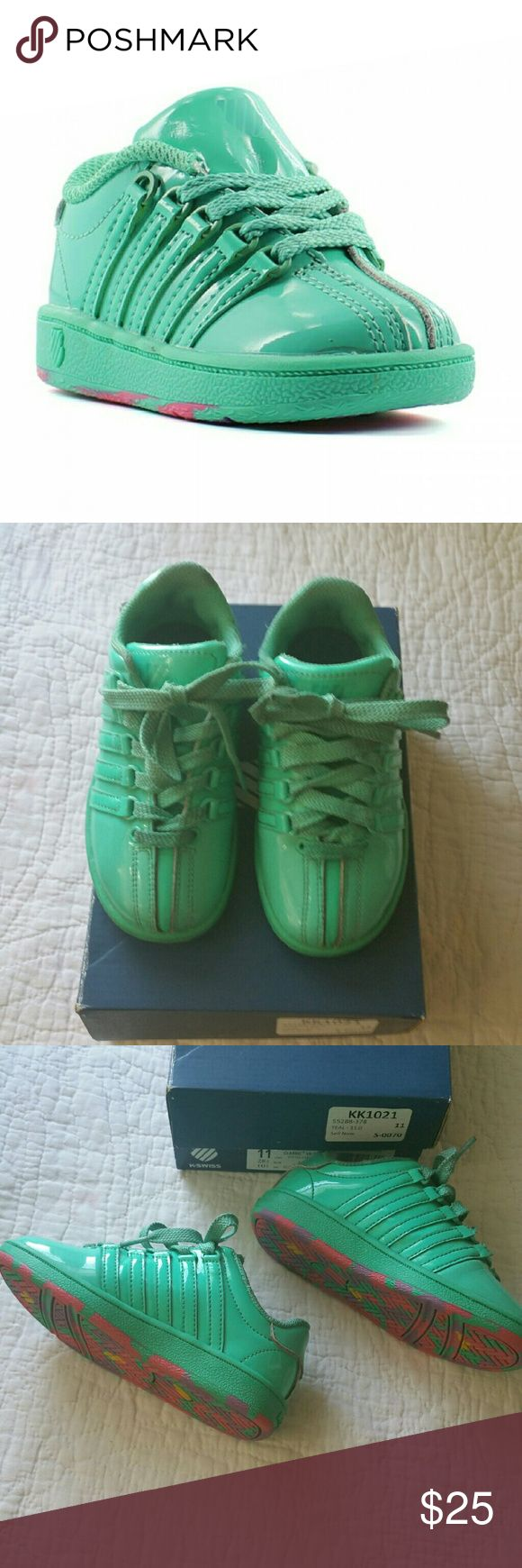 KIDS CLASSIC K SWISS VN PATENT SHOE SIZE 11 These shoes are constructed of a teal patent leather. They have metal D rings along eyelets with matching laces. They have a multicolored non marking rubber outsole for excellent traction.  These shoes are in excellent condition and have only been worn a few times K-Swiss Shoes Sneakers