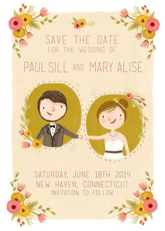 Inspirações para um casamento rústico: convite ilustração