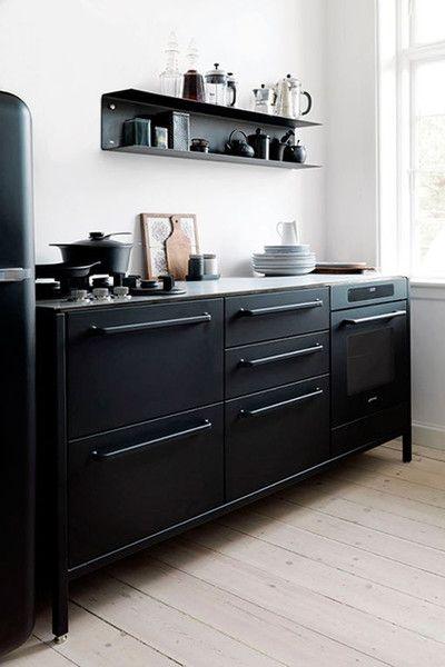 Matte black cabinets & appliances