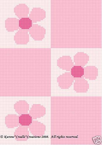 PINK-DAISY-FLOWERS-Color-Graph-Crochet-Pattern-EASY