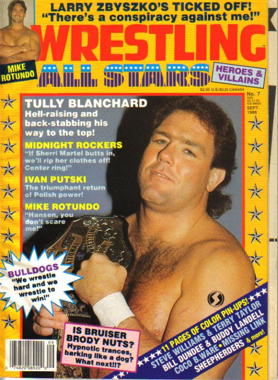 Pro Wrestling magazine Wrestling All Stars Heroes & Villains #9 September 1986. Tully Blanchard and Mike Rotundo on the cover.
