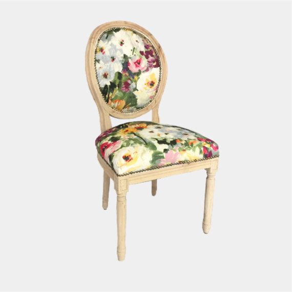 Floral boho chair Anthropologie style side dining chair custom upholstered in raw wood, watercolor water color floral armchair by Skinndd