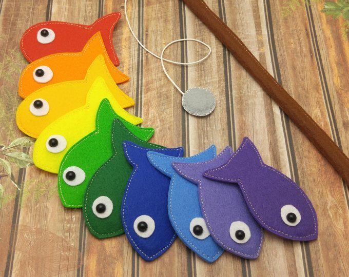 Magnetic Fishing Game Felt Sea Animals with Fishing Pole