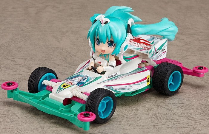 """Dengeki Hobby Magazine produced,  An improbable collaboration of """"Nendoroid"""" and """"Mini 4WD""""!!  Mini 4WD is a traditional 4 Wheel Drive plastic mobile race car developed by a world famous Japanese manufacture of plastic model kits, Tamiya.  We would like to share this remarkable collaboration with Japanese figure fans all over the world.  The first series is racing Miku, the second one is Saber for Fate series. The price is 2,100 Japanese Yen."""