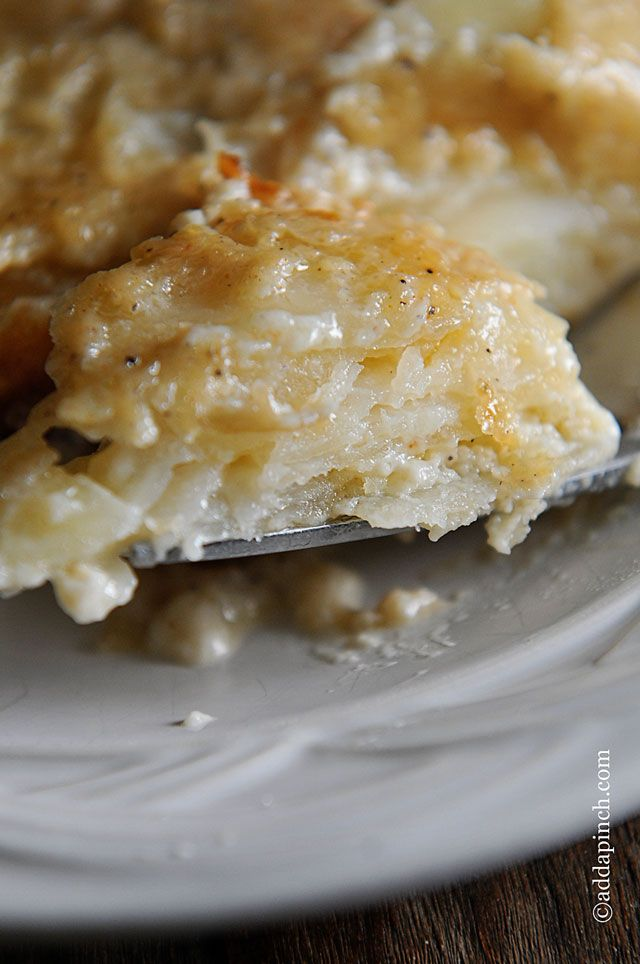 Scalloped Potatoes | A simple classic side dish that is so good with so many dishes!Family fave! from ©addapinch.com
