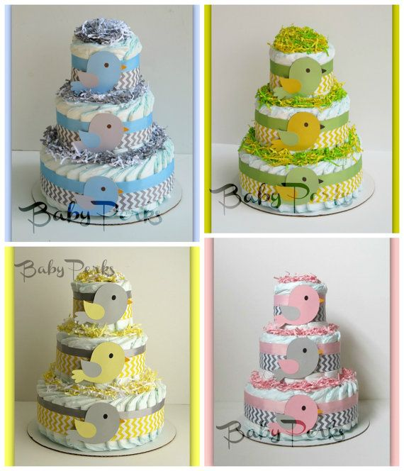Baby Shower Decorations Pink And Yellow ~ Yellow and grey diaper cake bird baby