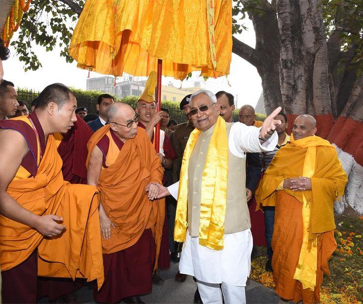 His Holiness the Dalai Lama is being welcomed by Bihar Chief Minister Shri Nitish Kumar. His Holiness will initiate the #Kalachakra ceremony at Bodh Gaya, Bihar from January 2 onwards. #DalaiLama #BodhGaya #Buddha #Buddhism