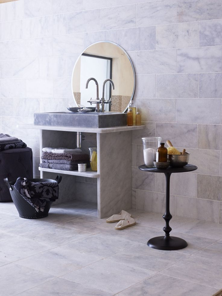 Marble 2 insite calacatta tumbled cal select honed for Tumbled marble bathroom designs