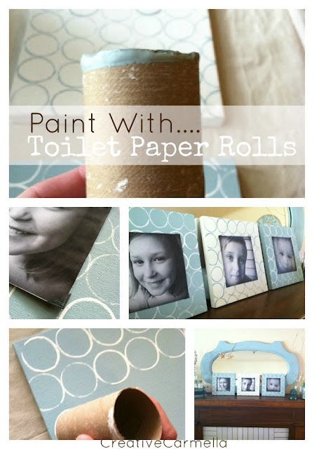 Painting with toilet paper rolls. I really like this idea!