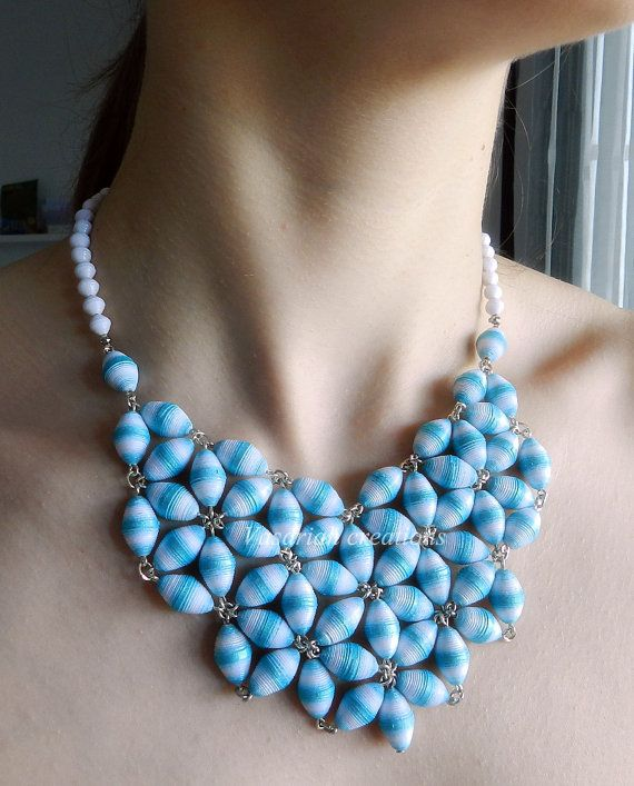 Ombre white and blue necklace with paper beads handmade handpainted statement jewelry