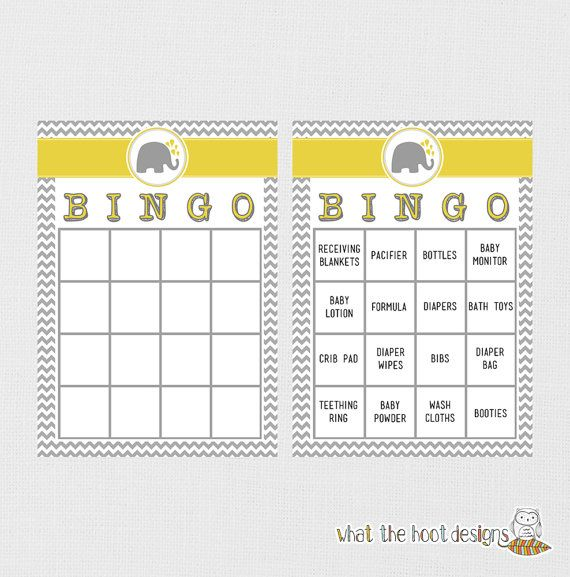 bingo gender reveal party elephant baby shower printable baby shower
