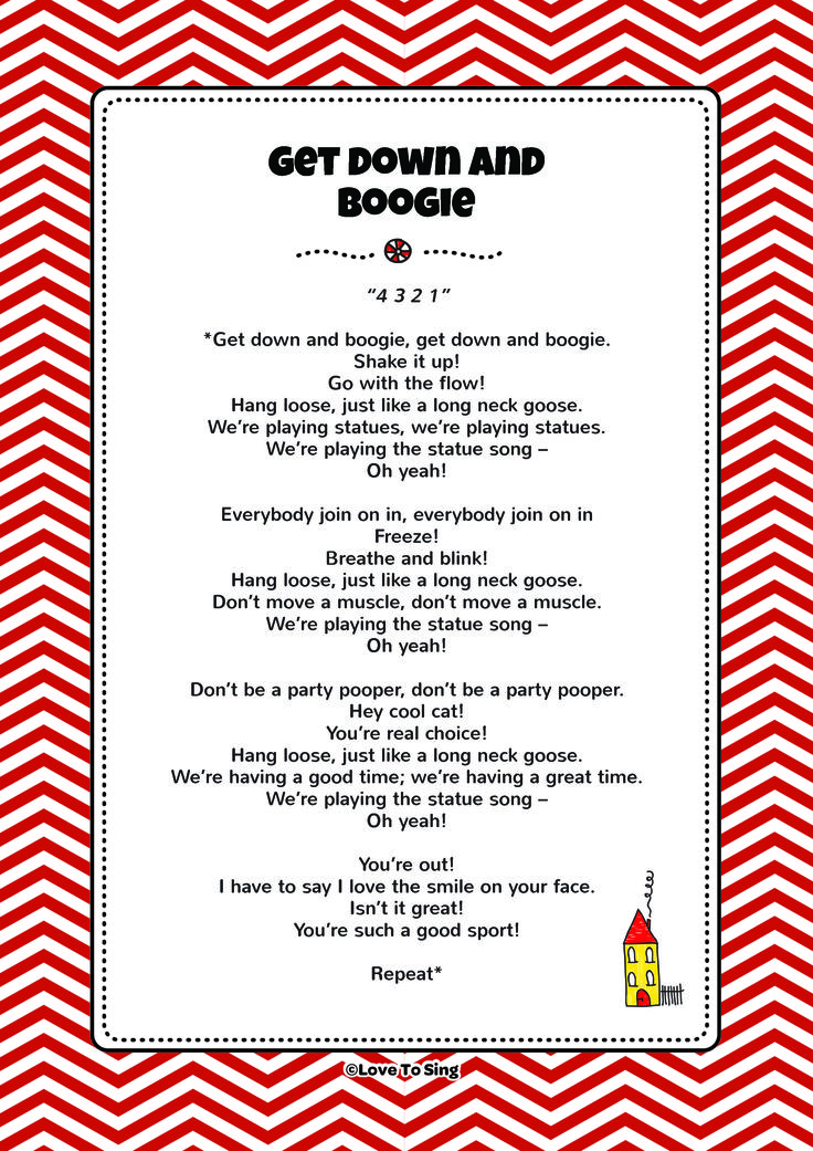Get Down and Boogie. Download FREE fun curriculum learning activities and FREE song lyrics from our website. Watch FREE videos! http://www.childrenlovetosing.com/kids-song/get-down-and-boogie/