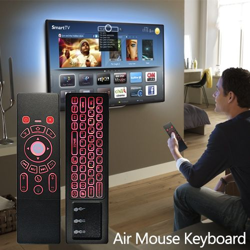 This item is a double-sided remote controller with the combined function of air mouse, full keyboard, universal remote control and touchpad. Easy to operate your Android TV box, smart TV, PC, Xbox, PS3, etc. Rainbow backlight enables you to use it even at night with amazing experience.#keyboard#electronics
