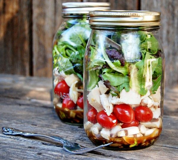 Salad to go! Just saw this on the cover of a Chatelaine magazine and thought it's worth sharing. A brilliant idea especially for people who work. You can prepare several salad jars over the weekend for a grab-and-go lunch for work days. If the ingredients are layered correctly the salad can stay fresh for up to 4 days.