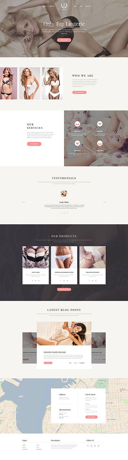Lingerie website inspirations at your coffee break! Browse for more #Bootstrap #templates! // Regular price: $75 // Sources available: .HTML,  .PSD #fashion #online #shop #store #company #style #lingerie #brand #women #sexy #classic #stylish #different #health #cosmetic #care #hair #spa #boutique #nails