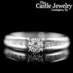 Platinum .50 CT Round Diamond Princess Channel Set Accent 1 CTTW Engagement Ring