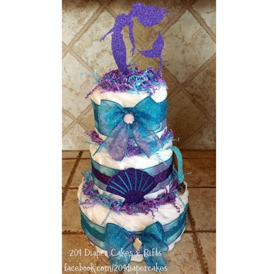 Glitter Teal & Purple Mermaid Seashell Diaper Cake for Baby Shower Centerpiece or Gift for Baby Girl by 209 Diaper Cakes & Gifts - facebook.com/209diapercakes