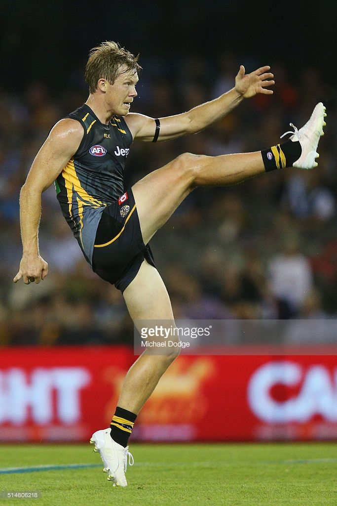 Jack Riewoldt of the Tigers kicks the ball during the 2016 AFL NAB Challenge match between the Richmond Tigers and the Port Adelaide Power at Etihad Stadium on March 10, 2016 in Melbourne, Australia.