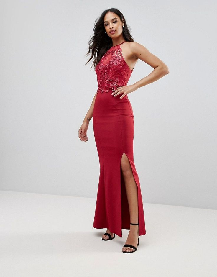 Lipsy Lace Detail Maxi Dress with Split - Red