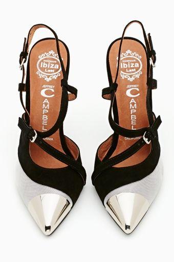 Silver n black heels