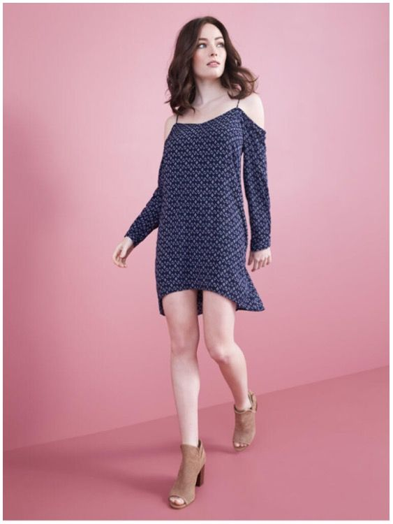 **** Loving this adorable off the shoulder - cold shoulder, long sleeve navy dress. Paired with nude booties... Super cute! Stitch Fix Fall, Stitch Fix Spring Stitch Fix Summer 2016 2017. Stitch Fix Fall Spring fashion. #StitchFix #Affiliate #StitchFixInfluencer