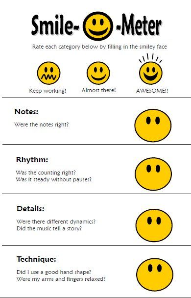smile meter for self-assessment.  could use at a station for assessment in Let's Play Music?  www.letsplaymusicsite.com