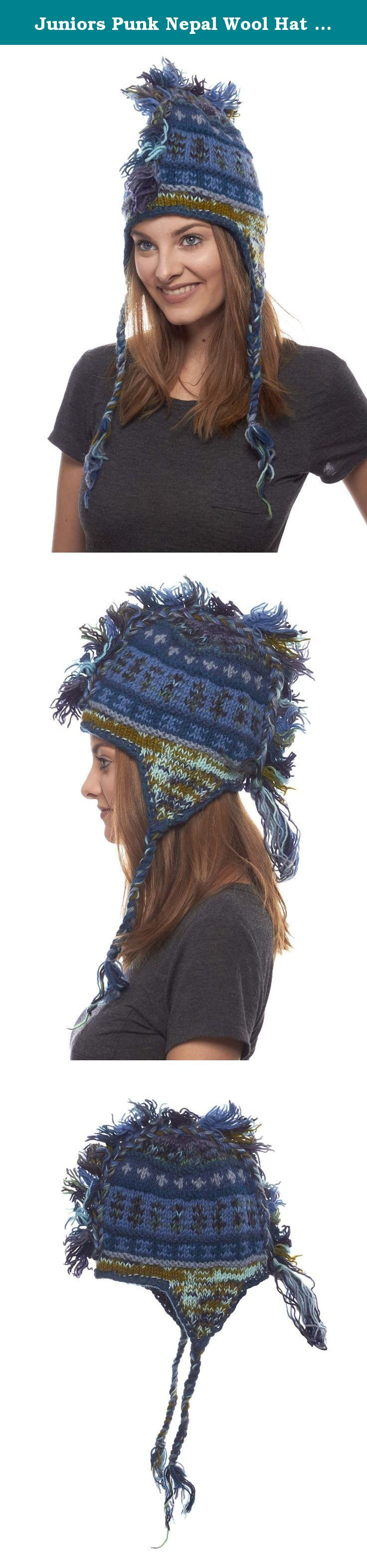 Juniors Punk Nepal Wool Hat with Mohawk, Blue Mix. When the winter winds are making it feel like the slopes of Mount Everest, any young lady can stay warm with some attitude in this wool hat featuring an edgy yarn mohawk. Hand knitted in Nepal, this hat is full of brilliant colors and the energy of that beautiful land. It features numerous decorative and color options, all with a fierce mohawk accent. Choose between subtle geometric patterns, a range of mixed designs, and multicolored...