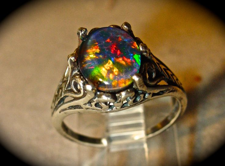 antique filigree style opal engagement ringspectacular australian opal triplet or solid white or - Black Opal Wedding Rings