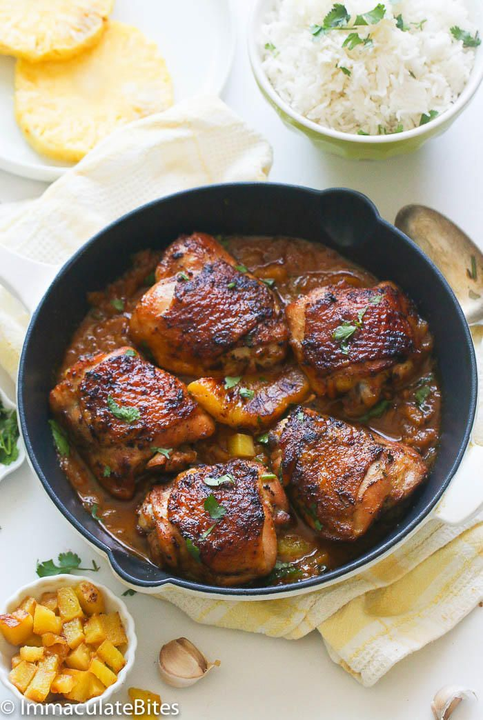 Roast Pineapple Chicken Thighs simmered in the most tantalizing garlic sauce that everyone will go crazy for. A weeknight tropical treat.